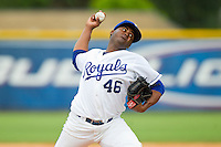 Burlington Royals starting pitcher Luis Santos (46) in action against the Greeneville Astros at Burlington Athletic Park on July 1, 2013 in Burlington, North Carolina.  The Astros defeated the Royals 7-0 in Game One of a doubleheader.  (Brian Westerholt/Four Seam Images)