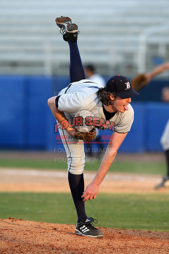 March 14, 2010:  Pitcher Matt Foley of Bucknell University Bisons vs. UMBC in a game at Chain of Lakes Stadium in Winter Haven, FL.  Photo By Mike Janes/Four Seam Images