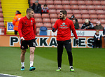 Paul Coutts of Sheffield Utd and Kieron Freeman of Sheffield Utd warm up during the English League One match at Bramall Lane Stadium, Sheffield. Picture date: April 17th 2017. Pic credit should read: Simon Bellis/Sportimage