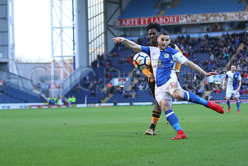 6th January 2018, Ewood Park, Blackburn England; FA Cup football, 3rd round, Blackburn Rovers versus Hull City; Craig Conway of Blackburn Rovers shoots at goal