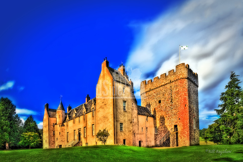 Drum Castle features a very old medieval 13th century keep (seen to the right of the image) The keep is the oldest in Scotland and is joined onto a Jacobean mansion house dating back to 1619. There are also Victorian additions to the castle.<br />