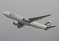 A Cathay Pacific Airbus A330-343 Registration B-HLU in Oneworld livery at Hong Kong Chek Lap Kok International Airport on 4.4.19 going to Taiwan Taoyuan International Airport, Taiwan.