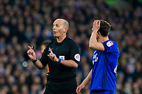 Referee Mike Riley during the Sky Bet Championship match between Cardiff City and Wolverhampton Wanderers at the Cardiff City Stadium, Cardiff, Wales on 6 April 2018. Photo by Mark  Hawkins / PRiME Media Images.