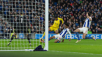 Chelsea's Ruben Loftus-Cheek (left) is tackled by Brighton & Hove Albion's Bernardo (right) in front of the Brighton & Hove Albion goal<br /> <br /> Photographer David Horton/CameraSport<br /> <br /> The Premier League - Brighton and Hove Albion v Chelsea - Sunday 16th December 2018 - The Amex Stadium - Brighton<br /> <br /> World Copyright © 2018 CameraSport. All rights reserved. 43 Linden Ave. Countesthorpe. Leicester. England. LE8 5PG - Tel: +44 (0) 116 277 4147 - admin@camerasport.com - www.camerasport.com