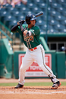 Greensboro Grasshoppers third baseman J.C. Millan (14) at bat during a game against the Lakewood BlueClaws on June 10, 2018 at First National Bank Field in Greensboro, North Carolina.  Lakewood defeated Greensboro 2-0.  (Mike Janes/Four Seam Images)