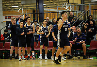 Action from the 2017 AA Boys' Secondary Schools Basketball Premiership National Championship match between Palmerston North Boys' High School (navy and white) and Wellington College (gold) at the B&M Centre in Palmerston North, New Zealand on Wednesday, 4 October 2017. Photo: Dave Lintott / lintottphoto.co.nz