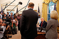 United States President Donald J. Trump meets with Federal Emergency Management Agency (FEMA) Director William Brock Long and US Secretary of Homeland Security (DHS) Kirstjen Nielsen on Hurricane Michael in the Oval Office of the White House, Washington, DC, October 10, 2018.<br /> CAP/MPI/RS<br /> &copy;RS/MPI/Capital Pictures