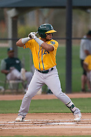 AZL Athletics third baseman Jordan Diaz (10) at bat during an Arizona League game against the AZL Athletics at Camelback Ranch on July 15, 2018 in Glendale, Arizona. The AZL White Sox defeated the AZL Athletics 2-1. (Zachary Lucy/Four Seam Images)