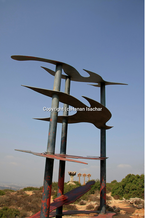 "Israel, Lower Galilee, Shuki Eli's statue ""I Have a Dream"" in Kaukab abu el Hija"