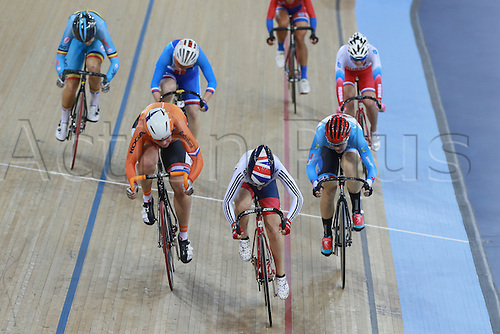 04.03.2016. Lee Valley Velo Centre, London England. UCI Track Cycling World Championships. Woomens scratch final.  TROTT Laura (GBR) wins gold as she crosses the line