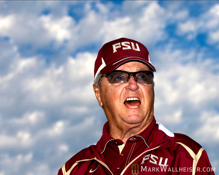 Florida State head coach Bobby Bowden speaks to his team prior to their Garnet and Gold game on Bobby Bowden Field on the Florida State University campus in Tallahassee, Florida April 4, 2009...Photo ©2009 Mark Wallheiser