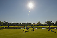 Morgan Pressel (USA), Christina Kim (USA), and Cheyenne Woods (USA) head down 3 in the early morning Chicago sun during round 1 of the 2018 KPMG Women's PGA Championship, Kemper Lakes Golf Club, at Kildeer, Illinois, USA. 6/28/2018.<br /> Picture: Golffile | Ken Murray<br /> <br /> All photo usage must carry mandatory copyright credit (&copy; Golffile | Ken Murray)
