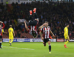 Harry Chapman of Sheffield Utd celebrates his goal with a somersault during the League One match at Bramall Lane Stadium, Sheffield. Picture date: September 27th, 2016. Pic Simon Bellis/Sportimage