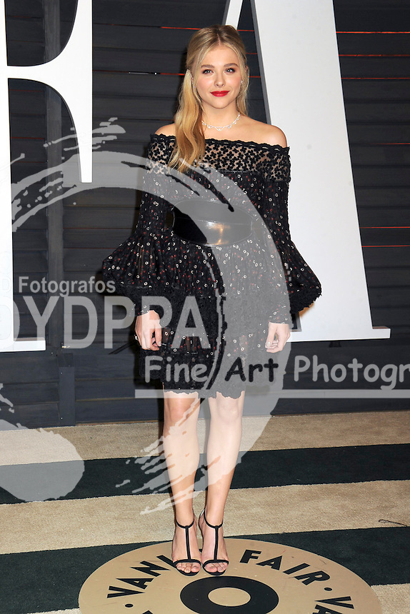 Chloe Grace Moretz attending the Vanity Fair Oscar Party 2015 on February 22, 2015 in Beverly Hills, California.