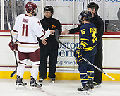 Chris Calnan (BC - 11), Michael Baker, Kevin Keenan, Jared Kolquist (Merrimack - 15) - The visiting Merrimack College Warriors defeated the Boston College Eagles 6 - 3 (EN) on Friday, February 10, 2017, at Kelley Rink in Conte Forum in Chestnut Hill, Massachusetts.