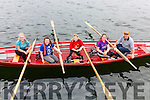 The Valentia U16 Girls crew who took gold at the Pormagee Regatta were l-r; Jessica O'Connor, Casey O'Connell, Sinead O'Shea, Katie Trew & Dermot Walsh(Cox).  In second place were Callinafercy followed in third by Cromane.