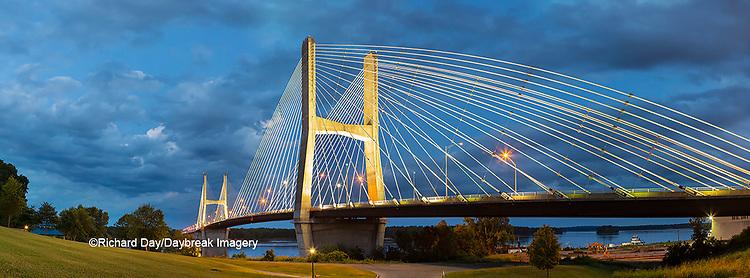 65095-02712 Bill Emerson Memorial Bridge at dusk-night over Mississippi River Cape Girardeau  MO