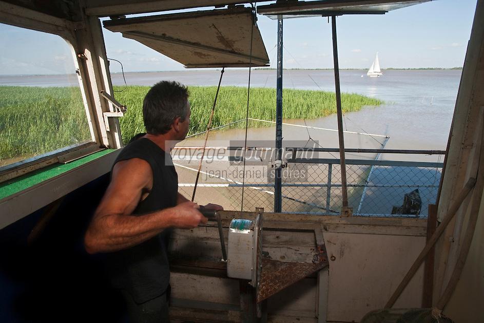 Europe/France/Aquitaine/33/Gironde/Pauillac: Pêche au carrelet sur l'Estuaire de la Gironde Auto N: 2009 -111