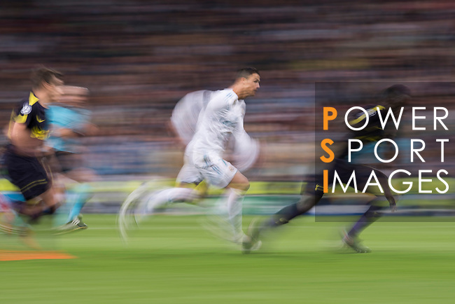 Cristiano Ronaldo of Real Madrid (C) in action during the UEFA Champions League 2017-18 match between Real Madrid and Tottenham Hotspur FC at Estadio Santiago Bernabeu on 17 October 2017 in Madrid, Spain. Photo by Diego Gonzalez / Power Sport Images