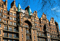 London: Hotel Russell, roofline. Bloomsbury. Designed by Charles Fitzroy Doll, 1898. Victorian style.