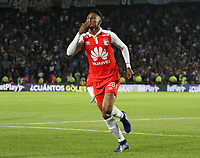 BOGOTÁ - COLOMBIA, 15-01-2019:Arley Rodriguez jugador del Independiente Santa Fe celebra su gol contra  Millonarios durante partido del Torneo Fox Sport 2019 jugado en el estadio Nemesio Camacho El Campín de la ciudad de Bogotá. /Arley Rodriguez player of Independiente Santa fe celebrates his goal agaisnt of Millonarios  during the  match of the Fox Sport 2019 Tournament played at the Nemesio Camacho El Campin Stadium in Bogota city. Photo: VizzorImage / Felipe Caicedo / Staff.