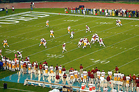 The field during Stanford's 49-17 loss to USC on November 9, 2002 at Stanford Stadium.<br />