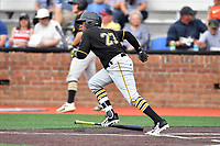 Bristol Pirates designated hitter Felix Vinicio (27) runs to first base during a game against the Johnson City Cardinals at TVA Credit Union Ballpark on June 23, 2017 in Johnson City, Tennessee. The Pirates defeated the Cardinals 4-3. (Tony Farlow/Four Seam Images)