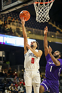 Washington, DC - December 22, 2018: Richmond Spiders guard Jacob Gilyard (0) makes a layup during the DC Hoops Fest between Hampton and Howard at  Entertainment and Sports Arena in Washington, DC.   (Photo by Elliott Brown/Media Images International)