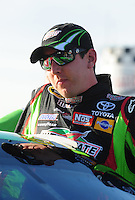 Feb 20, 2009; Fontana, CA, USA; NASCAR Sprint Cup Series driver Kyle Busch during qualifying for the Auto Club 500 at Auto Club Speedway. Mandatory Credit: Mark J. Rebilas-
