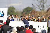 Alexander Levy (FRA) tees off the 7th tee during Sunday's Final Round of the 2014 BMW Masters held at Lake Malaren, Shanghai, China. 2nd November 2014.<br /> Picture: Eoin Clarke www.golffile.ie