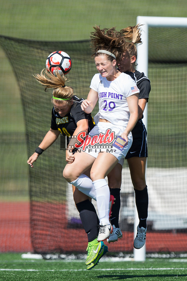 Kelsey Perrell (29) of the High Point Panthers battles for the ball with Morgan Mosack (20) of the Appalachian State Mountaineers during first half action at Vert Track, Soccer & Lacrosse Stadium on August 26, 2016 in High Point, North Carolina.  The Panthers defeated the Mountaineers 2-0.  (Brian Westerholt/Sports On Film)