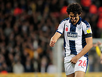 West Bromwich Albion's Ahmed Hegazy checks everything is in place after an unfortunate accident<br /> <br /> Photographer David Shipman/CameraSport<br /> <br /> The EFL Sky Bet Championship - West Bromwich Albion v Leeds United - Saturday 10th November 2018 - The Hawthorns - West Bromwich<br /> <br /> World Copyright © 2018 CameraSport. All rights reserved. 43 Linden Ave. Countesthorpe. Leicester. England. LE8 5PG - Tel: +44 (0) 116 277 4147 - admin@camerasport.com - www.camerasport.com