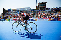 24 JUL 2014 - GLASGOW, GBR - Danica Bonello Spiteri (MLT) from Malta  starts another lap on the bike during the elite women's 2014 Commonwealth Games triathlon in Strathclyde Country Park, in Glasgow, Scotland (PHOTO COPYRIGHT © 2014 NIGEL FARROW, ALL RIGHTS RESERVED)<br /> *******************************<br /> COMMONWEALTH GAMES <br /> FEDERATION USAGE <br /> RULES APPLY<br /> *******************************