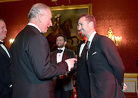 09 March 2016 - London, England - Prince Charles Prince of Wales meets Joseph Fiennes during a gala concert marking the 10th anniversary of the Children and the Arts charity at St James's Palace, London. Photo Credit: ALPR/AdMedia