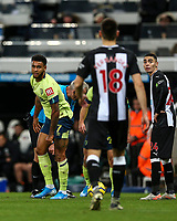 9th November 2019; St James Park, Newcastle, Tyne and Wear, England; English Premier League Football, Newcastle United versus AFC Bournemouth; Joshua King of AFC Bournemouth has words with Federico Fernandez of Newcastle United after he is fouled by him - Strictly Editorial Use Only. No use with unauthorized audio, video, data, fixture lists, club/league logos or 'live' services. Online in-match use limited to 120 images, no video emulation. No use in betting, games or single club/league/player publications