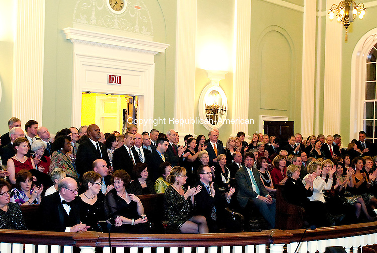 WATERBURY, CT, 08 JANUARY 2011-010811JS10--Guests fill the Aldermanic Chambers inside Waterbury City Hall as speakers welcome them to the the formal gala Saturday to celebrate the reopening of the newly restored City Hall  and to raise money for its garden conservancy fund. <br /> Jim Shannon Republican-American