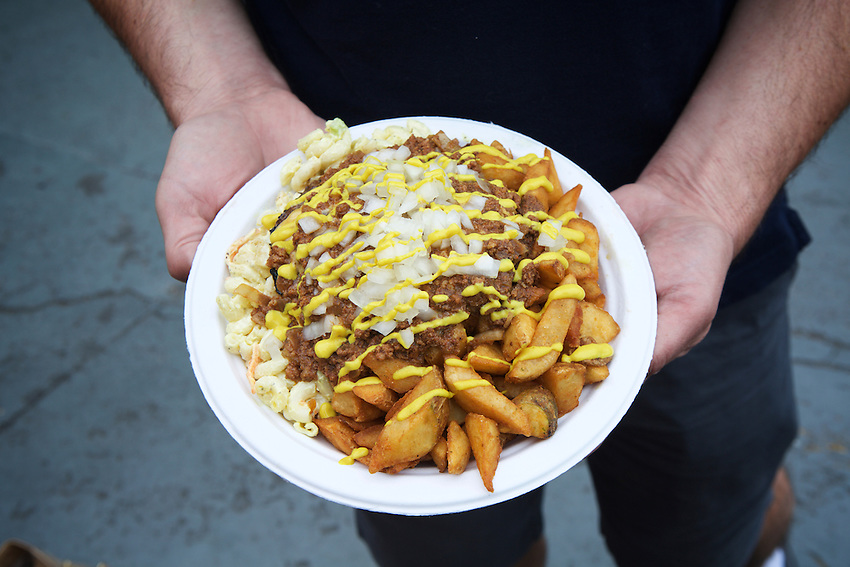 Rochester, NY - June 23, 2016: Dogtown, recently voted the best 'trash plate' among the city's 'Hots' stands. <br /> CREDIT: Clay Williams.<br /> <br /> &copy; Clay Williams / claywilliamsphoto.com