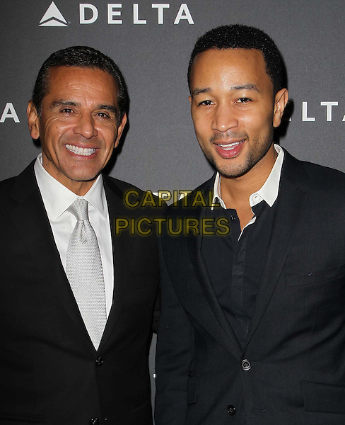 LA Mayor Antonio Villaraigosa & John Legend.Delta Air Lines, the Official Airline of the GRAMMY Awards,celebrate LA's music industry Held At The Getty House, Los Angeles, California, USA, .7th February 2013..portrait headshot beard facial hair white collar black shirt .CAP/ADM/KB.©Kevan Brooks/AdMedia/Capital Pictures.
