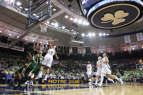 A general view as Notre Dame guard Skylar Diggins (#4) goes up for a shot in second half action of NCAA Women's basketball game between South Florida and Notre Dame.  The Notre Dame Fighting Irish defeated the South Florida Bulls 80-68 in game at Purcell Pavilion at the Joyce Center in South Bend, Indiana.