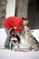 Rosalie Perkins from Takotna gets a kiss from one of Karen Ramstead's dogs as they rest on their 24 hour layover during Iditarod 2008