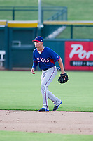 AZL Rangers shortstop Chris Seise (8) on defense against the AZL Cubs on July 24, 2017 at Sloan Park in Mesa, Arizona. AZL Cubs defeated the AZL Rangers 2-1. (Zachary Lucy/Four Seam Images)