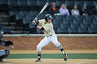 Keegan Maronpot (13) of the Wake Forest Demon Deacons at bat against the UConn Huskies at Wake Forest Baseball Park on March 17, 2015 in Winston-Salem, North Carolina.  The Demon Deacons defeated the Huskies 6-2.  (Brian Westerholt/Four Seam Images)