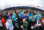 1st October 2017, Wembley Stadium, London, England; NFL International Series, Game Two; Miami Dolphins versus New Orleans Saints; Fans wait in line for the NFL shop