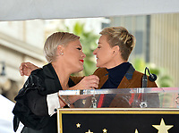 LOS ANGELES, CA. February 05, 2019: Pink & Ellen DeGeneres at the Hollywood Walk of Fame Star Ceremony honoring singer Pink.<br /> Pictures: Paul Smith/Featureflash