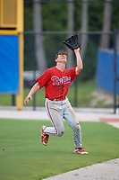 GCL Phillies West right fielder Trent Bowles (21) settles under a fly ball during a game against the GCL Blue Jays on August 7, 2018 at Bobby Mattick Complex in Dunedin, Florida.  GCL Blue Jays defeated GCL Phillies West 11-5.  (Mike Janes/Four Seam Images)