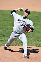 Akron RubberDucks pitcher Cody Anderson (40) delivers a pitch during a game against the Erie SeaWolves on May 18, 2014 at Jerry Uht Park in Erie, Pennsylvania.  Akron defeated Erie 2-1.  (Mike Janes/Four Seam Images)