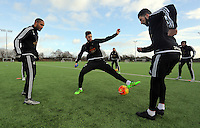 SWANSEA, WALES - JANUARY 28: (L-R) Ashley Williams and Federico Fernandez in action during the Swansea City Training Session on January 28, 2016 in Swansea, Wales.