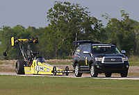 Apr. 26, 2013; Baytown, TX, USA: NHRA top fuel dragster driver Morgan Lucas during qualifying for the Spring Nationals at Royal Purple Raceway. Mandatory Credit: Mark J. Rebilas-