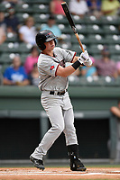Left fielder Blaine Prescott (25) of the Hickory Crawdads bats in a game against the Greenville Drive on Sunday, July 16, 2017, at Fluor Field at the West End in Greenville, South Carolina. Hickory won, 3-1. (Tom Priddy/Four Seam Images)