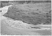 Left half of Dolores River valley panoramic picture paired with RD141-015.  This part shows the RGS track north of Bridge 78-A.<br /> RGS  Priest Gulch, CO  1947